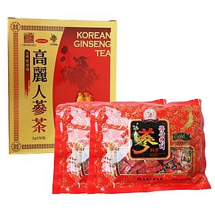 Combo 1 Thực Phẩm Chức Năng Trà Sâm Korean Ginseng Tea  + 2 Kẹo Sâm Chong Kun Dang