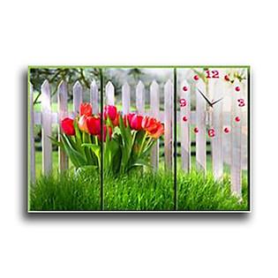 Tranh Đồng Hồ Vicdecor DHT0218 Tulip Ngày Mới