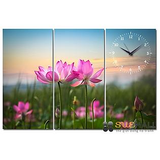 Tranh Đồng Hồ Suemall HL140703 - Hoa Sen Hồng
