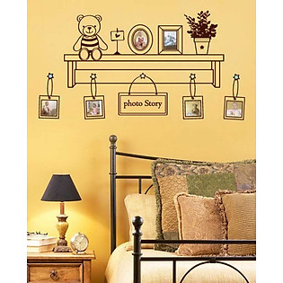 Decal Dán Tường Ninewall Bear & Photo W179