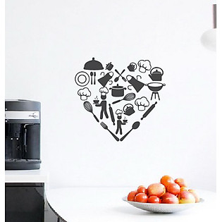 Decal Dán Tường Ninewall Love My Kitchen DK004