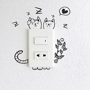Decal Trang Trí Ổ Cắm Điện Ninewall Sleep Kitty W347