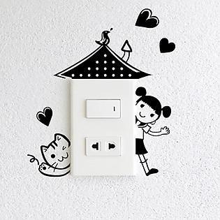 Decal Trang Trí Ổ Cắm Điện Ninewall Sweet Home W348