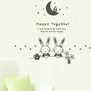 Decal Dán Tường Ninewall Bunny Couple BA032