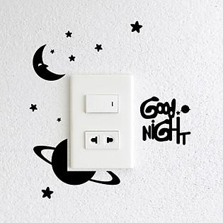 Decal Trang Trí Ổ Cắm Điện Ninewall Good Night W635a
