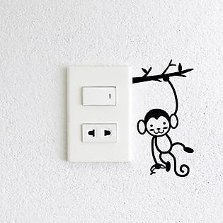 Decal Trang Trí Ổ Cắm Điện Ninewall Monkey W655