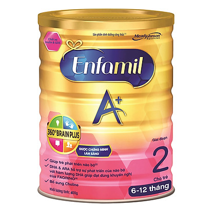 Sữa Enfamil A+2 360° Brain Plus với Inulin & GOS (400g)