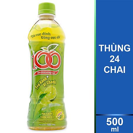 Thùng 24 Chai Trà 100 Trà Xanh Vị Chanh Tribeco 500ml
