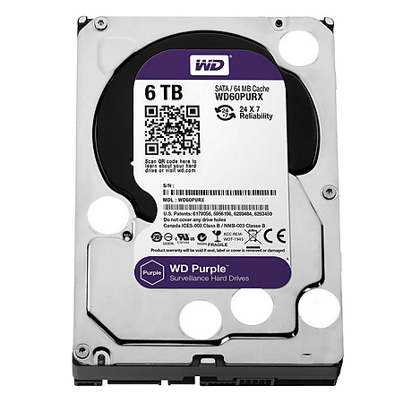 Ổ Cứng Trong PC WD  6TB (64MB) 3.5″ Purple™
