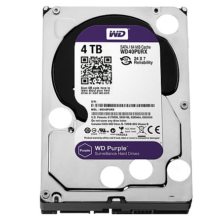 Ổ Cứng Trong PC WD 4TB (64MB) 3.5″ Purple™