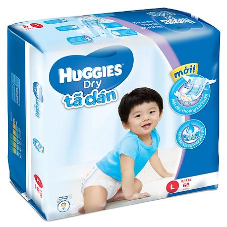 Combo 3 Tã Dán Huggies Dry Jumbo Gói Cực Đại Size L (68 Miếng)