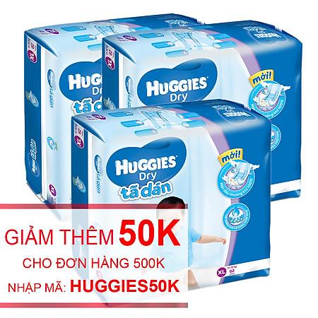 Combo 3 Tã Dán Huggies Dry Jumbo Gói Cực Đại Size XL (62 Miếng)