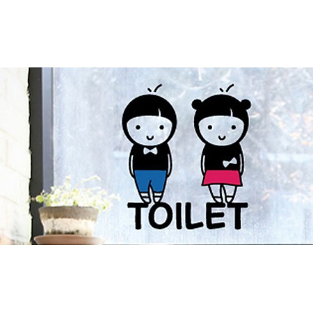 Decal Dán Tường NineWall Toilet-Couple DW001