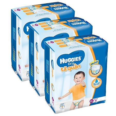 Combo 3 Tã Quần Huggies Dry Pants Gói Cực Đại Size XL (62 Miếng)
