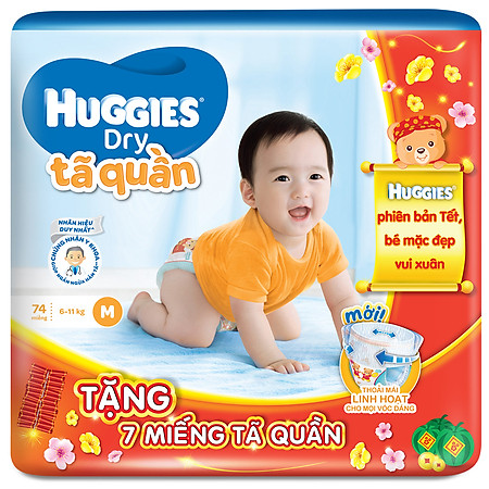 Combo 3 Tã Quần Huggies Dry Pants Gói Cực Đại Size M (74 Miếng) + 21 Miếng Cùng Loại (Tết 2016)