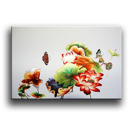 Tranh Canvas Vicdecor  TCV0001 Hoa Sen Và Bướm