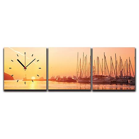 Tranh Đồng Hồ Suemall TN150203 – Bình Minh Trên Bến Cảng
