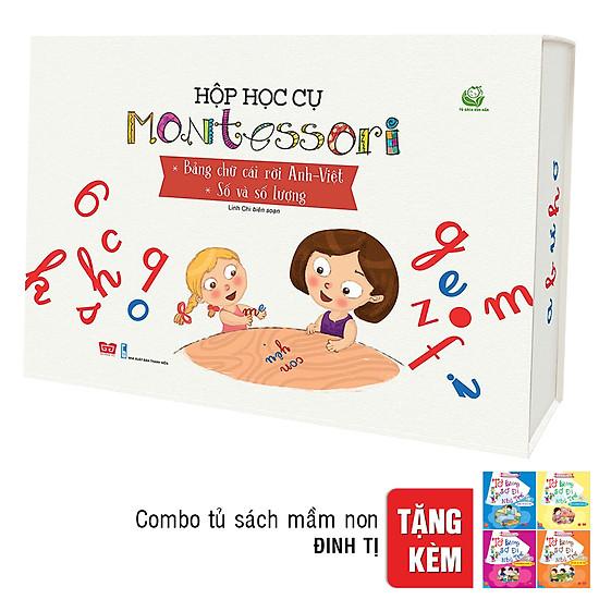 Hộp Thẻ Học Cụ Montessori - Bảng Chữ Cái Rời Anh - Việt - Số Và Số Lượng ( Tặng Combo 4 Cuốn Tủ Sách Mầm Non)