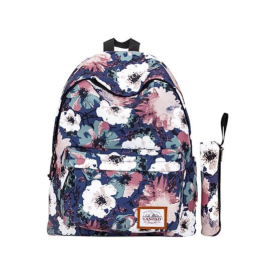 """Balo Laptop Họa Tiết (15"""") + 1 Hộp Bút Cùng Họa Tiết Lanpad LP007"""