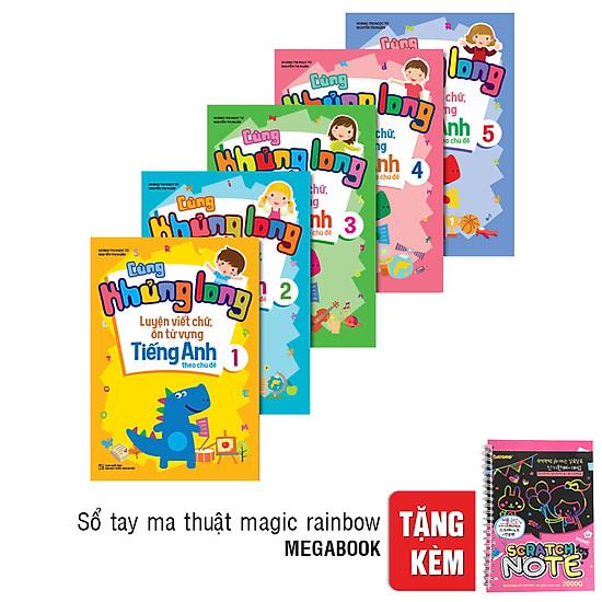 [Download sách] Combo 5 Cuốn Cùng Khủng Long Luyện Viết Chữ - Ôn Từ Vựng Tiếng Anh Theo Chủ Đề (Tặng Kèm Sổ Tay Ma Thuật A5 Magic Rainbow Notebook)