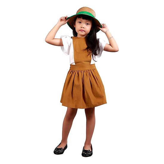 Váy Yếm Nhung Bé Gái Teps VN007V - Vàng Đồng