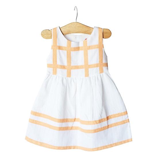 Đầm Trắng Đính Ren Cam Cuckeo Kids HC755
