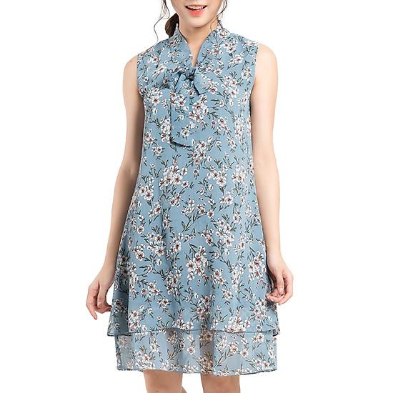 Váy Suông Nơ Cổ Gracy Design VXN002 - Xanh