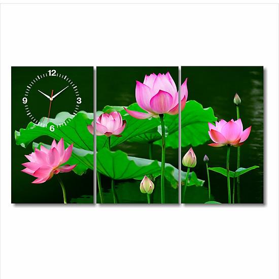 Tranh Đồng Hồ Dyvina 3T3050-4 - Sen Tứ Quý
