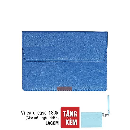 Túi Macbook Cover Lagom A500002 (35.5 x 25 cm) - Xanh Cobalt + Tặng Ví Credit Cardcase - Màu Ngẫu Nhiên