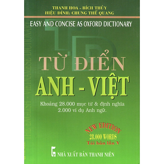 Từ Điển Anh – Việt (Khoảng 28.000 Từ) – Sách Bỏ Túi