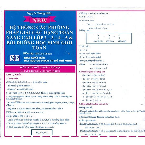 Hệ Thống Các Phương Pháp Giải Các Dạng Toán Nâng Cao Lớp 2 - 3 - 4 - 5 Và Bồi Dưỡng Học Sinh Giỏi Toán