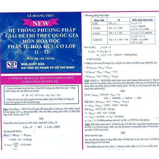 Hệ Thống Phương Pháp Giải Đề Thi THPT Quốc Gia Môn Hóa Học Phần II: Hóa Hữu Cơ Lớp 11 – 12