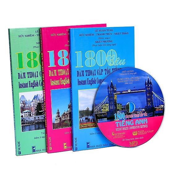 Combo: 1800 Câu Đàm Thoại Cấp Tốc Tiếng Anh (Trọn Bộ 3 Cuốn) (Kèm CD)