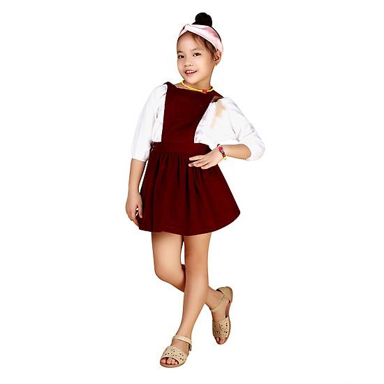 Váy Yếm Nhung Bé Gái Teps VN007 – Đỏ Đô
