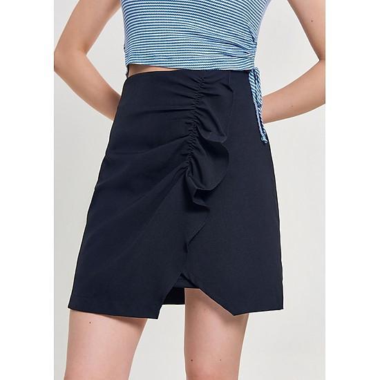 Váy Nữ Xẻ Chéo Thân Trước Bèo Nhún Marc Fashion PN069618 – Đen