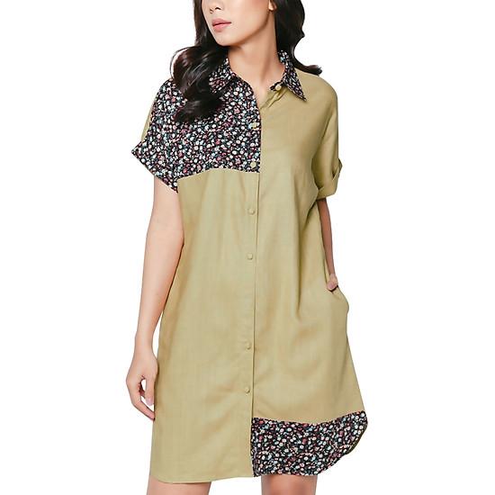 Đầm Linen Phối Cotton Hoa Nhí Vicky Boutique D703 - Nâu