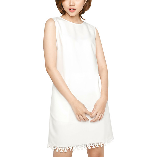 Đầm Cotton Sát Nách Kết Ren Vicky Boutique D678 - Trắng