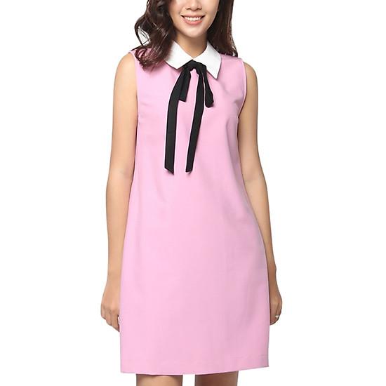 Đầm Cổ Sen Cột Nơ Đen Vicky Boutique D728 - Hồng