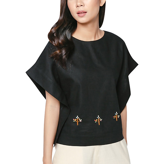 Áo Linen Tay Liền Thêu Cành Cây Vicky Boutique A725 - Đen