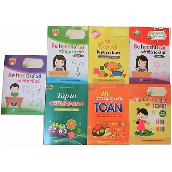 Bộ 7 cuốn tô màu và học chữ cái, chữ số cho bé