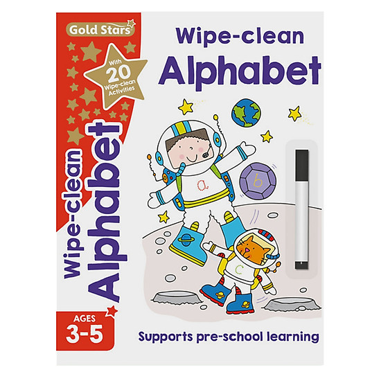 Gold Stars - Wipe - Clean Alphabet Ages 3-5