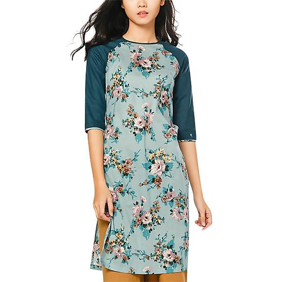 Áo Dài Cotton Hoa Phối Tay Linen Vicky Boutique AD810 - Rêu