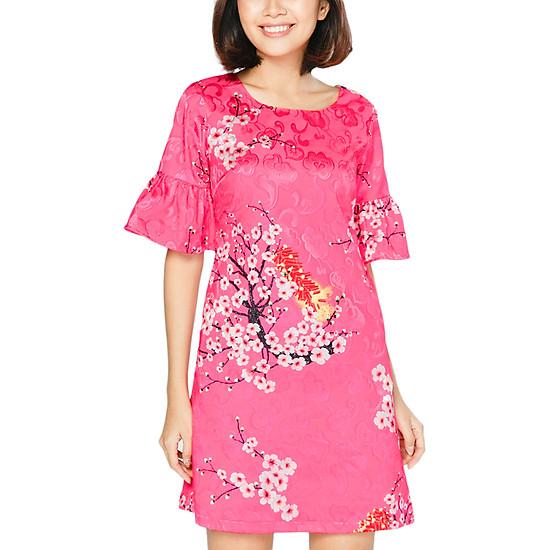 Đầm Gấm Phối Họa Tiết Hoa Đào Dáng Suông Paradise DP1696 - Hồng