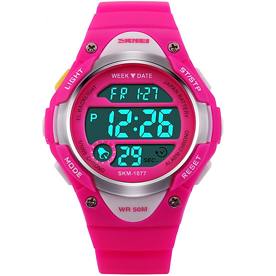 Đồng hồ trẻ em dây cao su Panda SKM 1077 (Hồng)