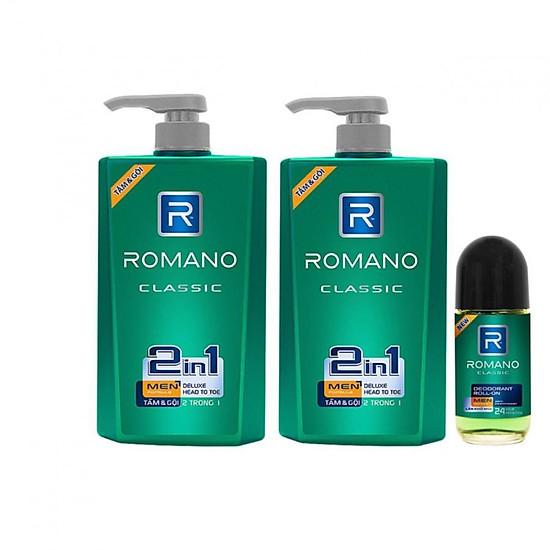 Nên mua Combo 2 Chai tắm gội Romano 2in1 Classic (650ml x2=1300ml)+Lăn khử mùi 40ml ở cửa hàng 45