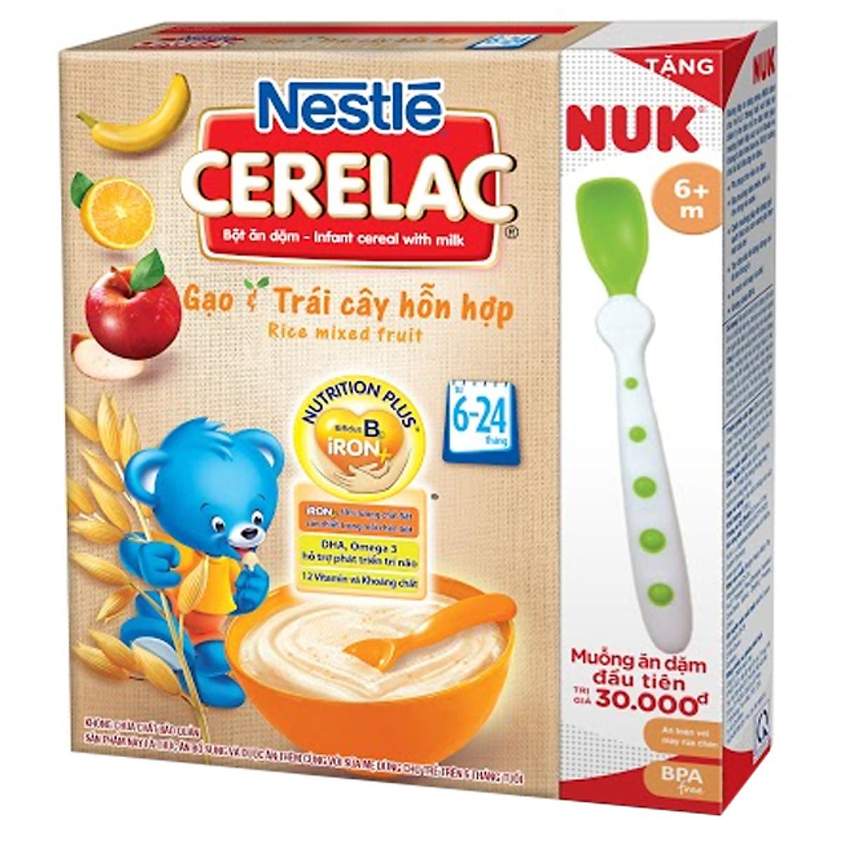 Bột Ăn Dặm Nestle Cerelac - Gạo Và Trái Cây (200g) Tặng Kèm Muỗng Ăn Dặm Nuk