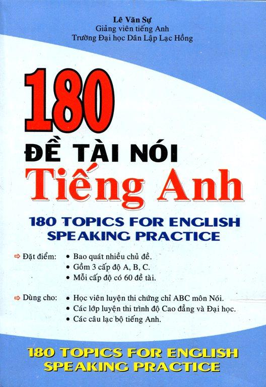 Bìa sách 180 Đề Tài Nói Tiếng Anh