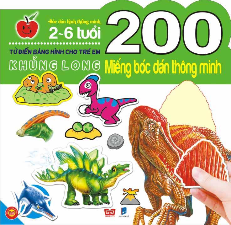 Bìa sách 200 Miếng Bóc Dán Thông Minh- Khủng Long