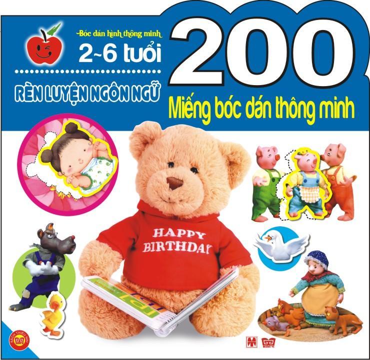 Bìa sách 200 Miếng Bóc Dán Thông Minh - Rèn Luyện Ngôn Ngữ (2-6 Tuổi)