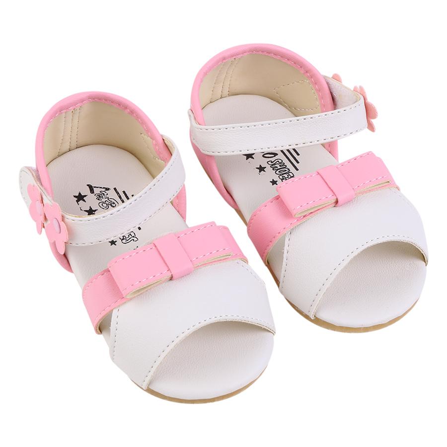 Giày Sandal Nơ Hồng Trắng YaYa SDW